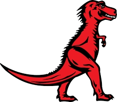 A red Tyrannosaurus Rex: A two legged dinosaur standing upright like a human, with small arms, and a large head with lots of sharp teeth.
